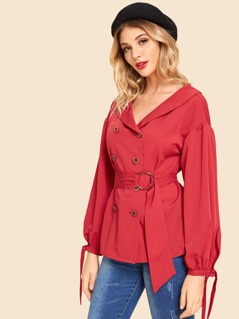 Button Front Bow Cuff Belted Coat