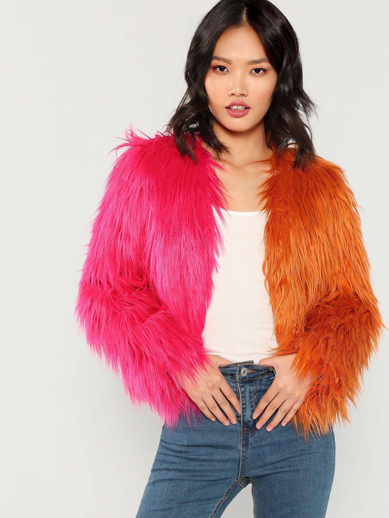 Купить Двухцветное пальто из искусственных кож, Meng Zheng, SheIn