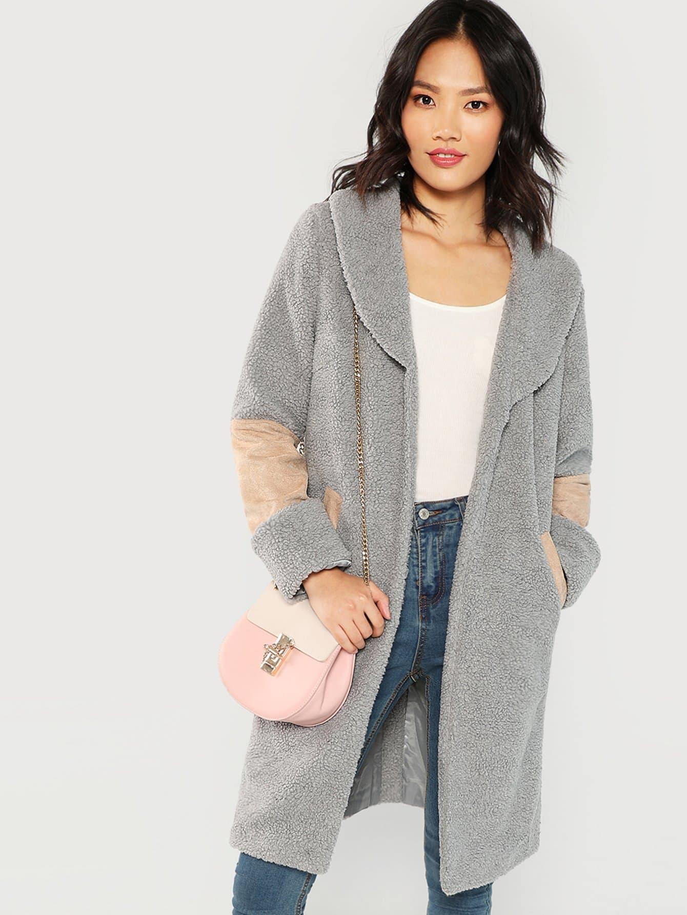 Купить Контрастное длинное плюшевое пальто с плащом вырезом, Meng Zheng, SheIn