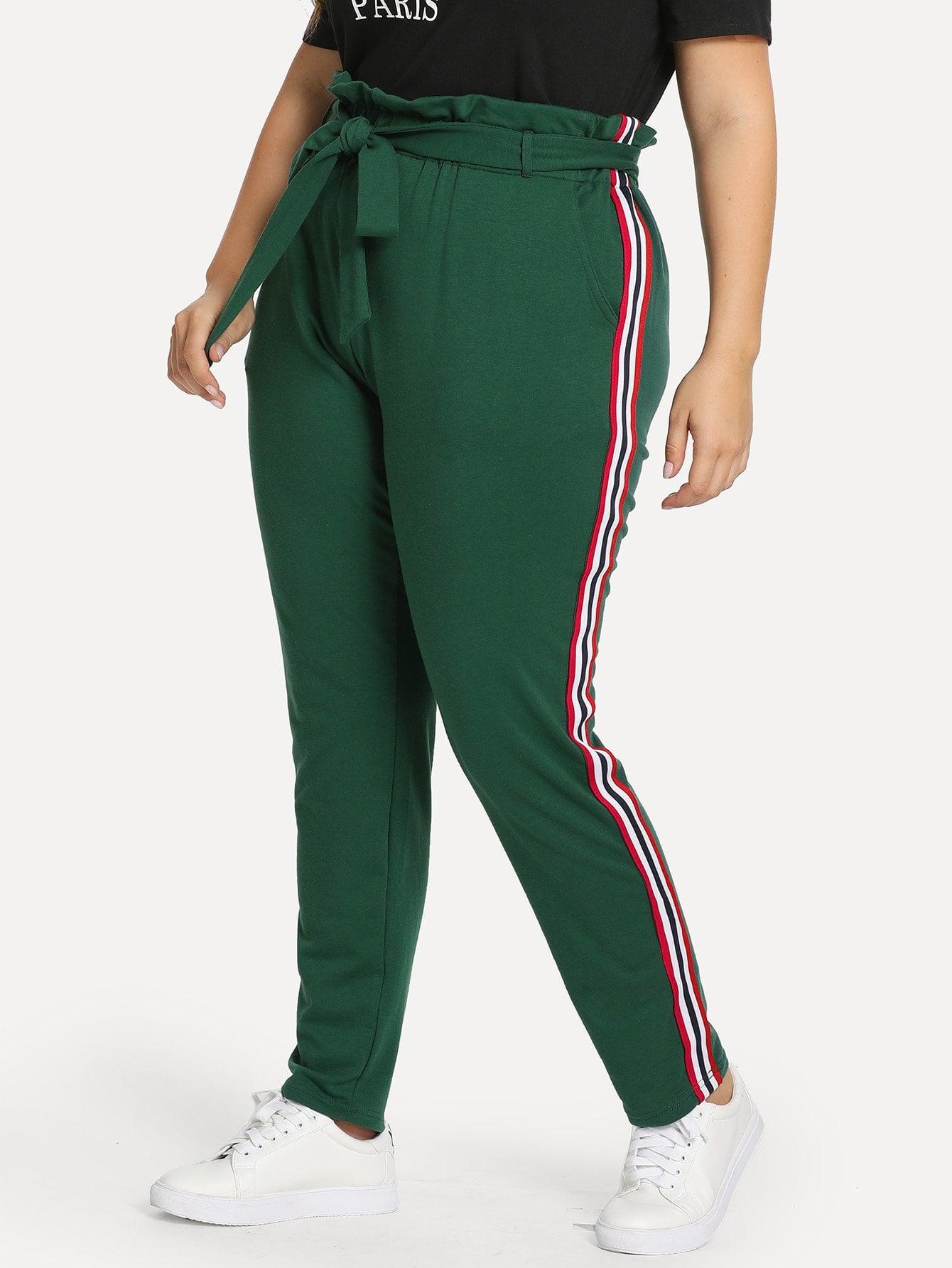 Купить Плюс размеры брюки в полоску сбоку, Franziska, SheIn