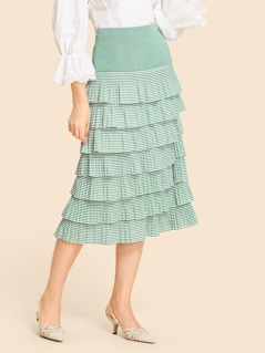Tiered Layer Pleated Skirt