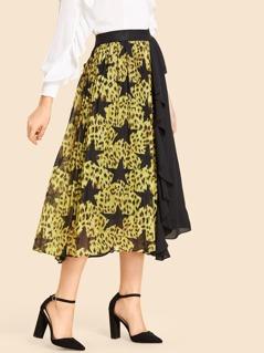 Two Tone Elastic Waist Flare Skirt