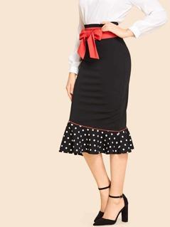 Bow Waist Mermaid Hem Pencil Skirt