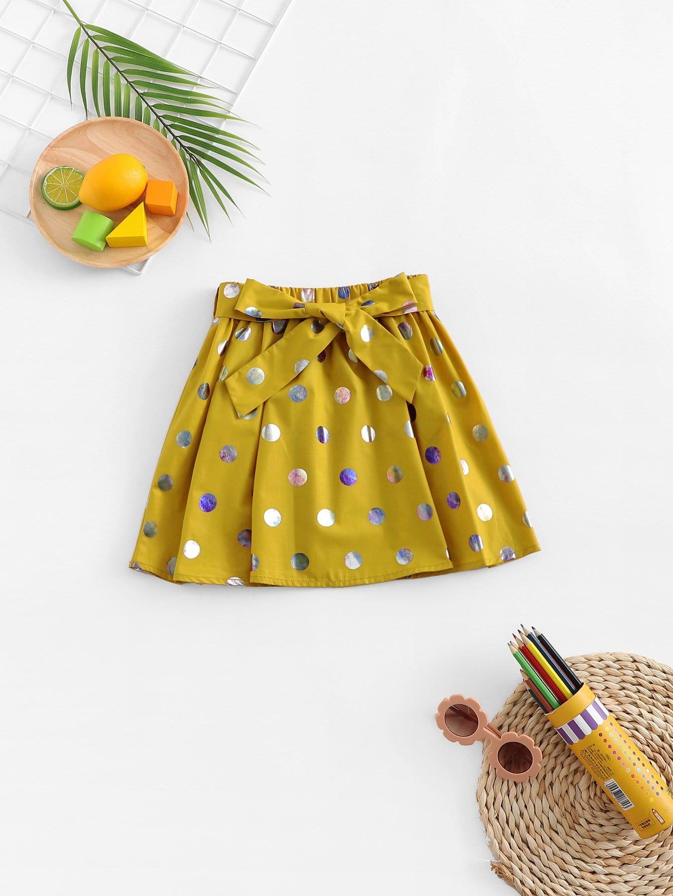 Купить Для девочик юбка в крапинку с басоном эластичным, null, SheIn