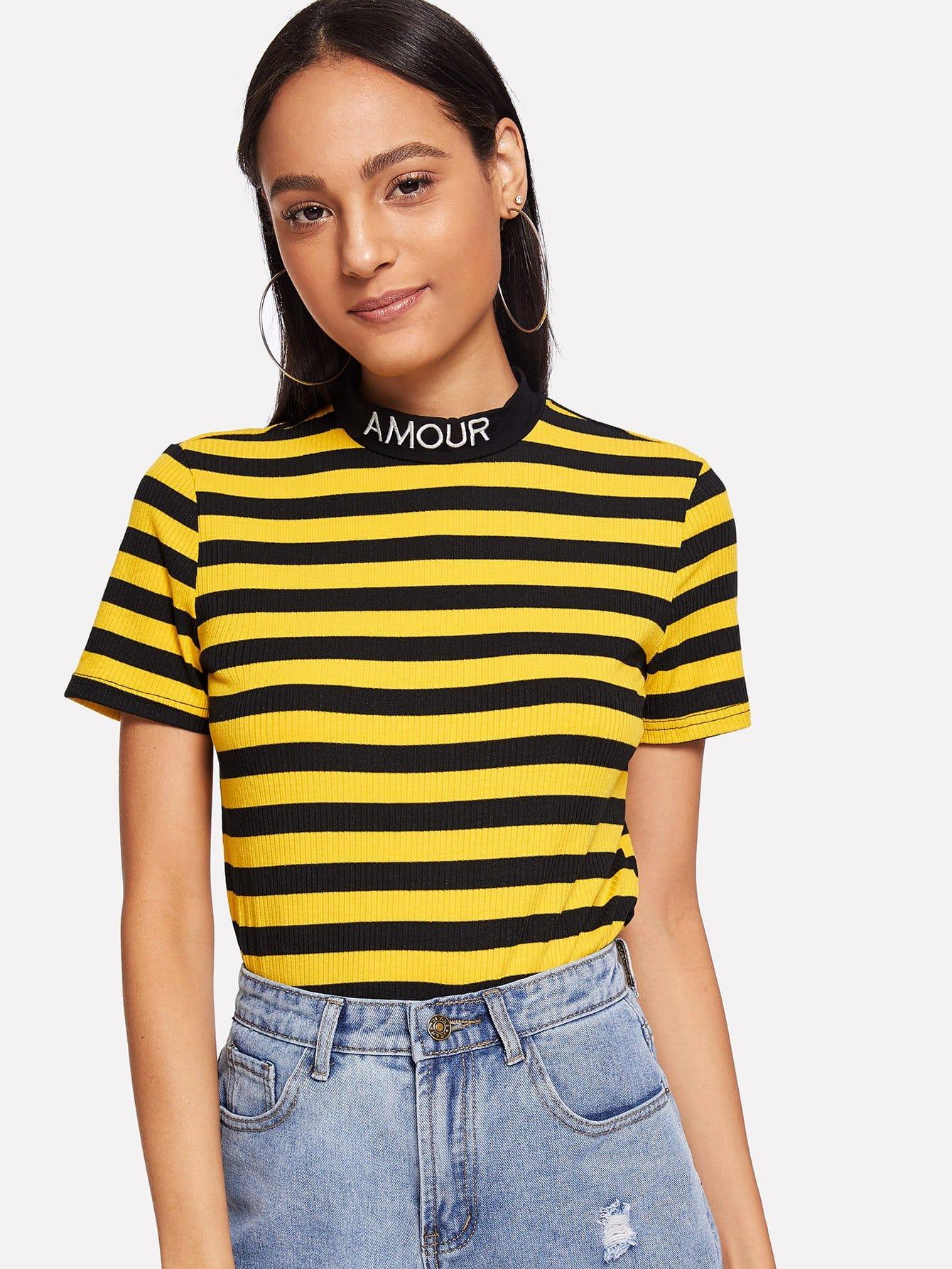 Вышитая Mock Neck Striped Ribbed T-shirt