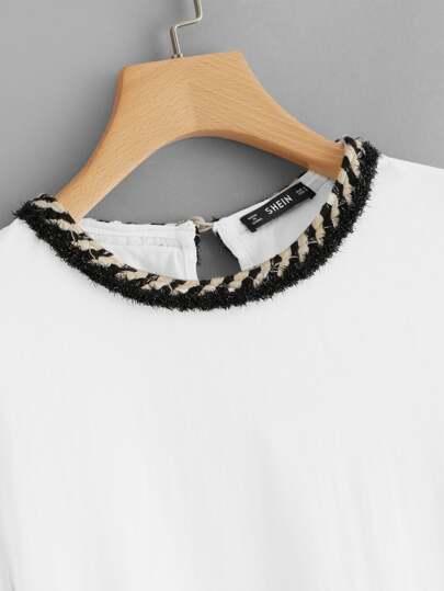 SheIn / Keyhole Back Striped Trim T-shirt
