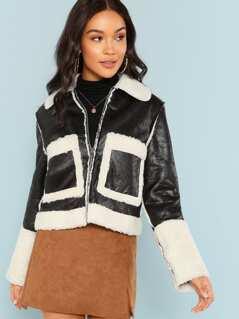 Zip Front Pocket Contrast Faux Fur Coat