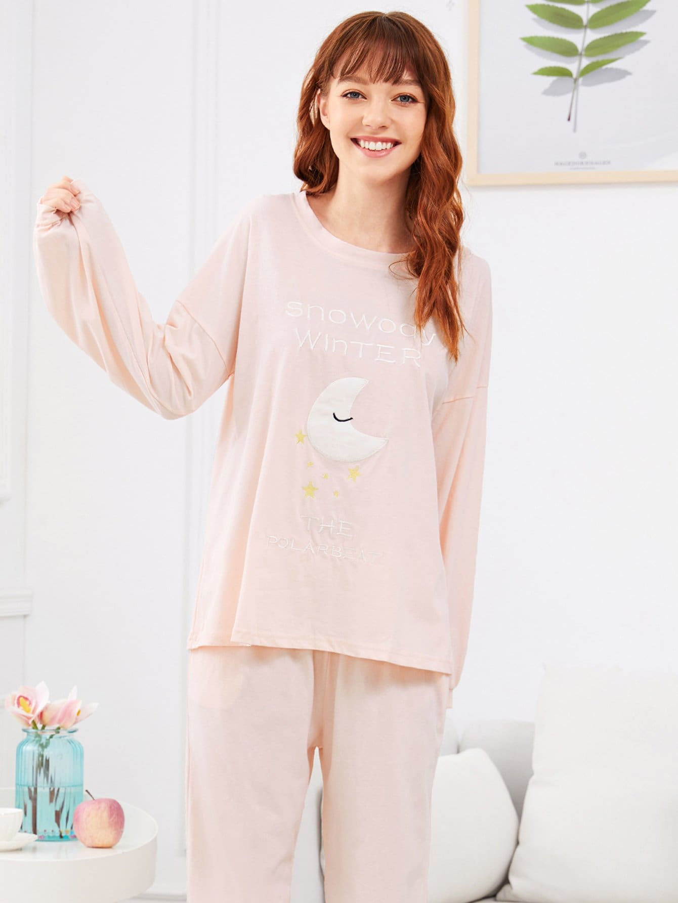 Moon & Letter Embroidered Pajama Set