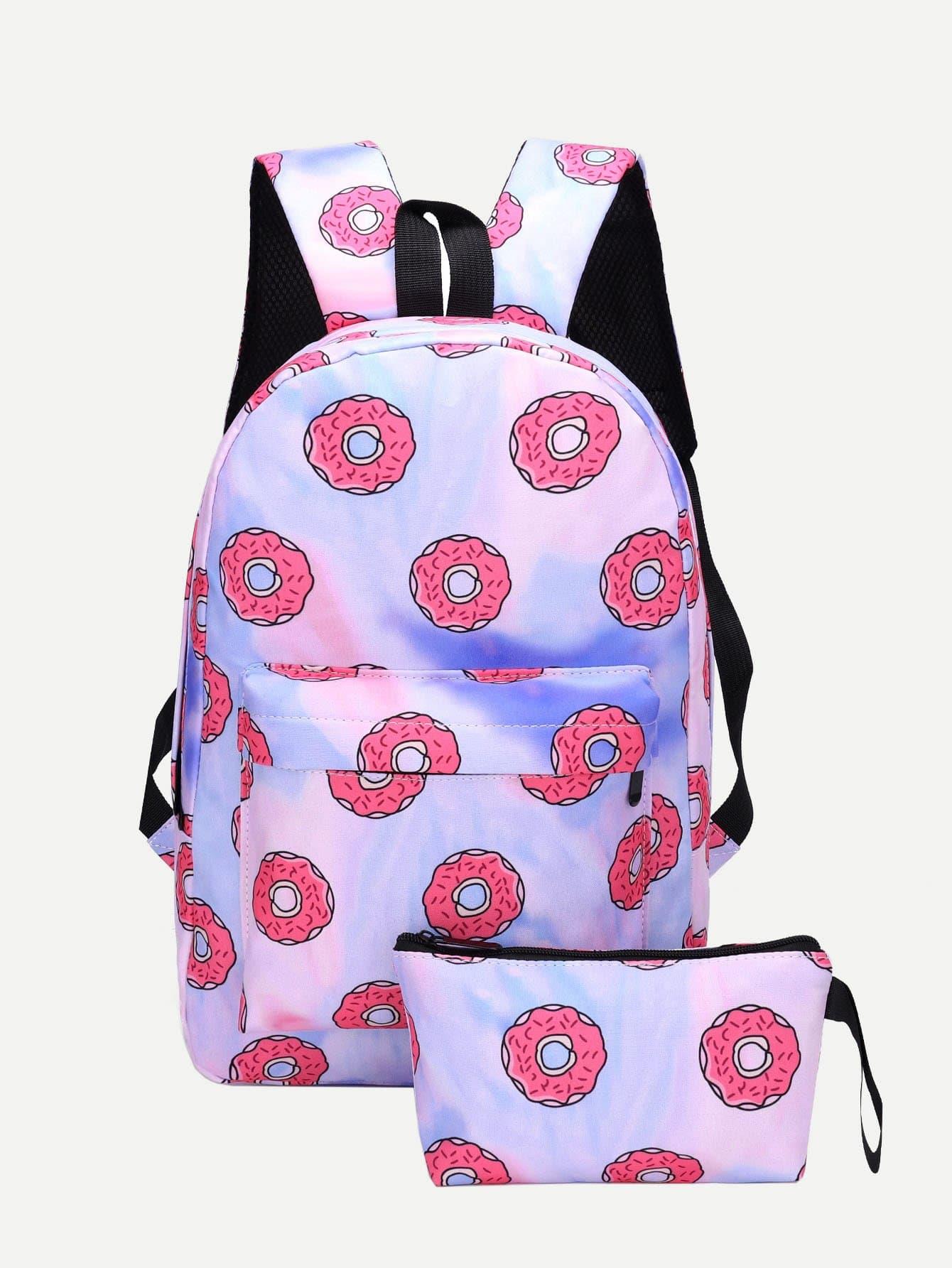 Купить Рюкзак с рисунком пончика и внутренной сумкой, null, SheIn