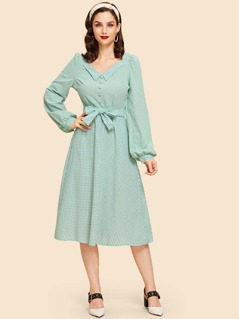 Tie Waist Bishop Sleeve Gingham Dress