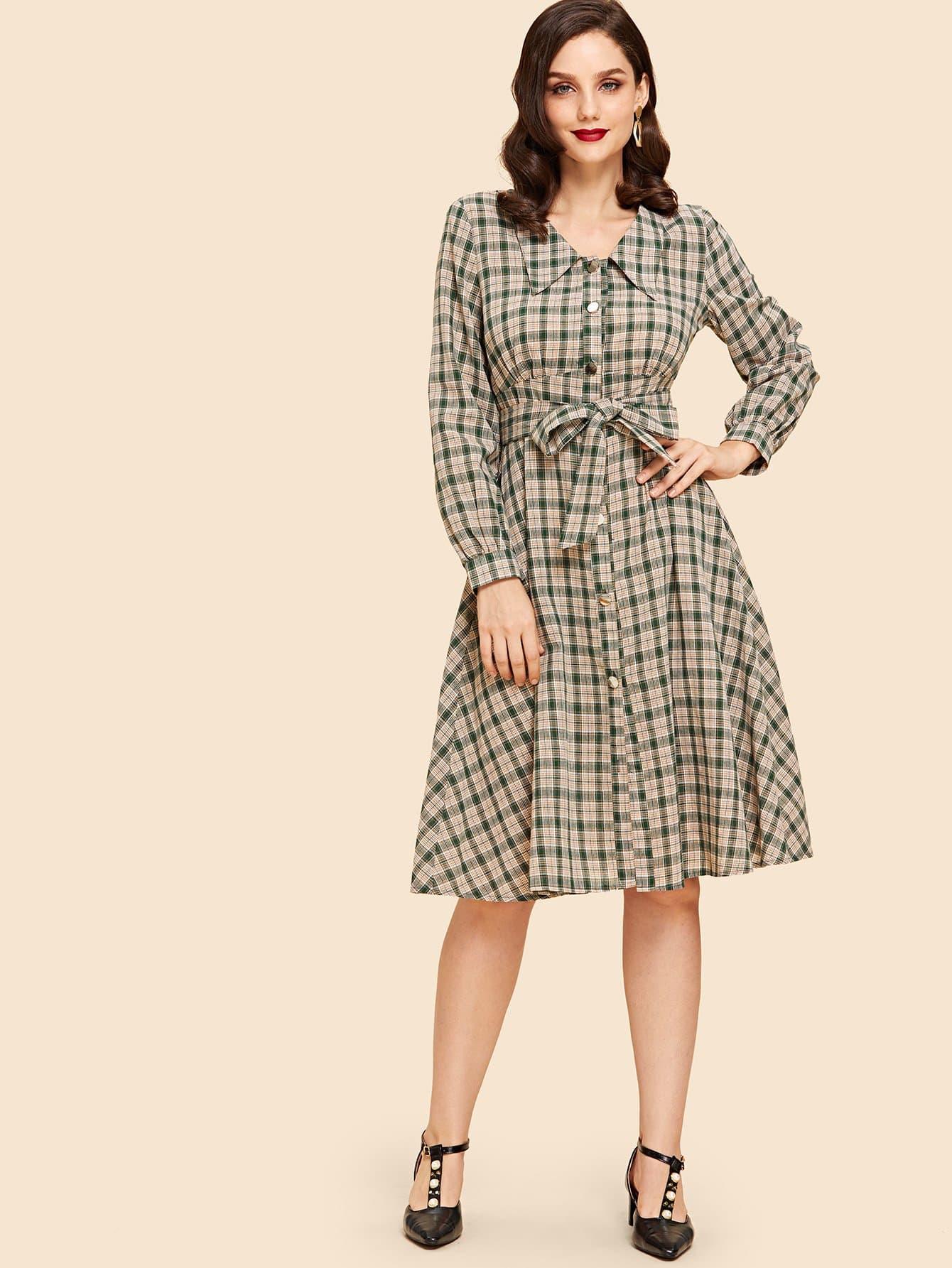 Купить Рубашки платье в клетку с поясом, Julie H., SheIn