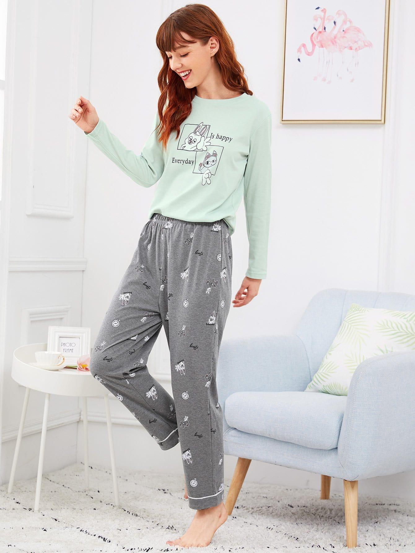 Animal & Letter Print Pajama Set