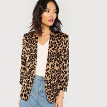 Shawl Collar Gathered Sleeve Leopard Blazer