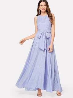 Pinstripe Flowy Maxi Belted Dress