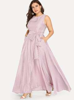 Plus Pinstripe Belted Shell Dress