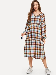 Tassel Tie Neck Embroidered Plaid Dress