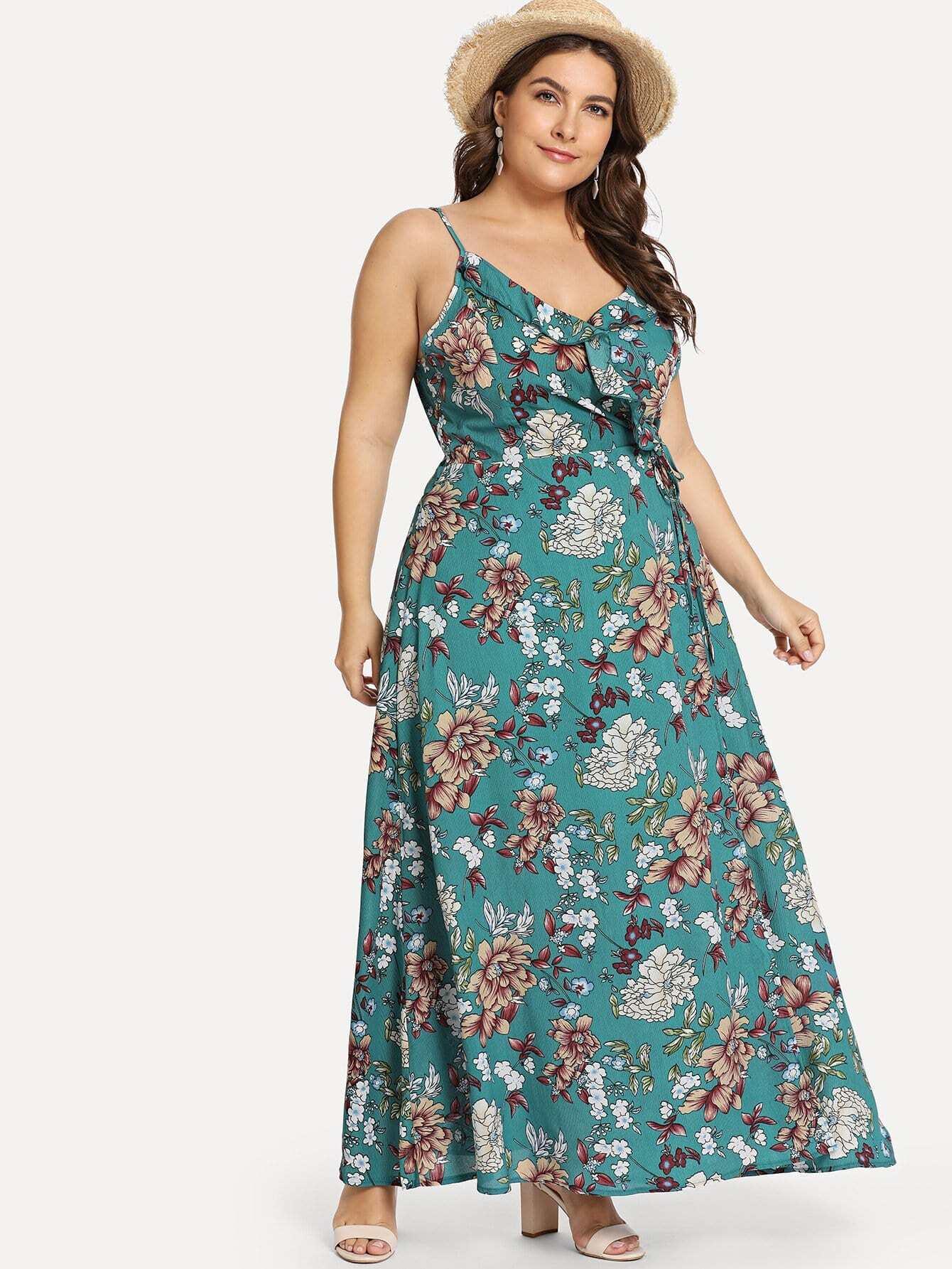 Купить Большое ситцевое платье с розеткой и с шрунками сзади одежды, Isabela, SheIn