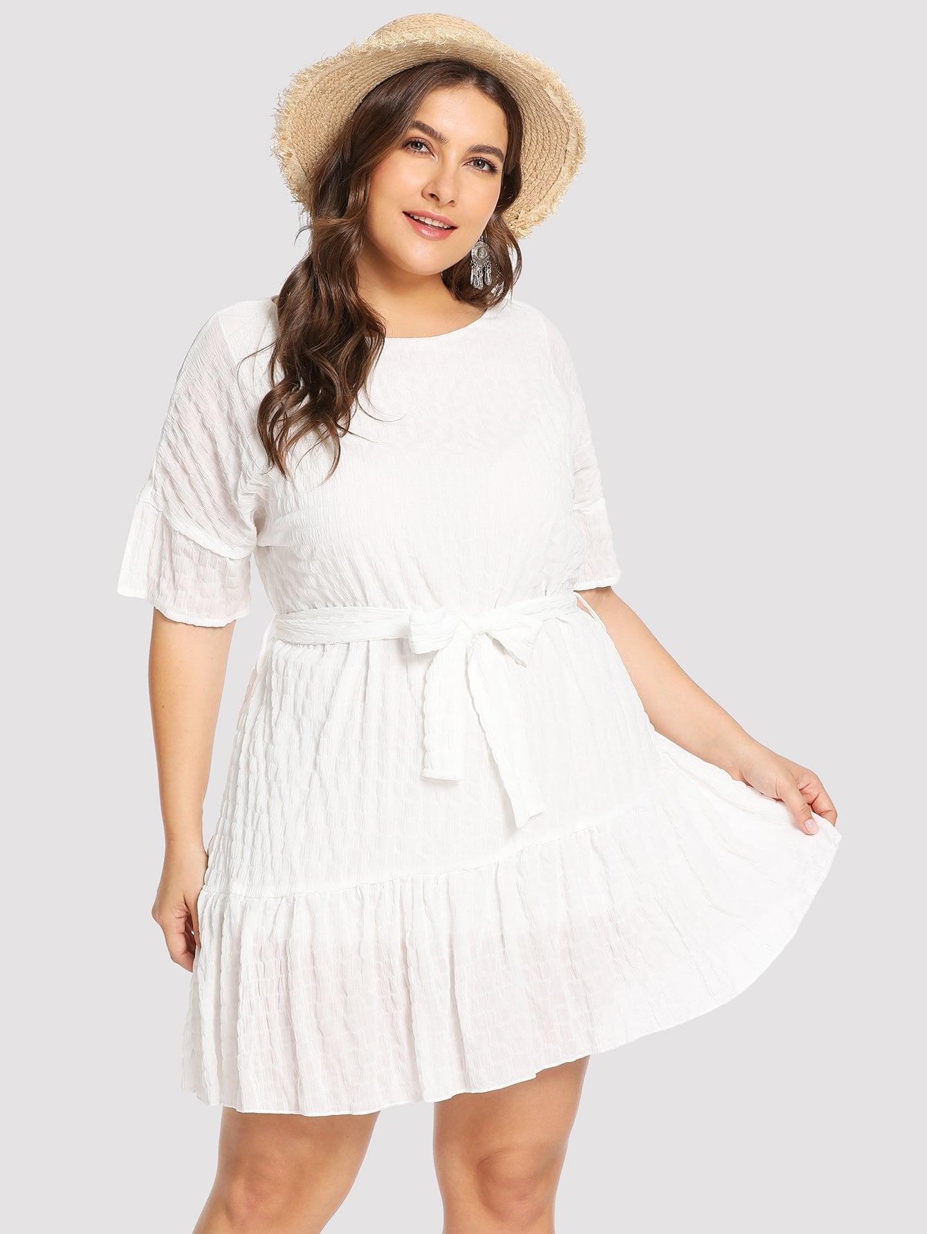 Купить Большое простое платье и подол с розеткой, Franziska, SheIn