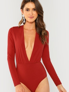 Plunging Neck Solid Bodysuit