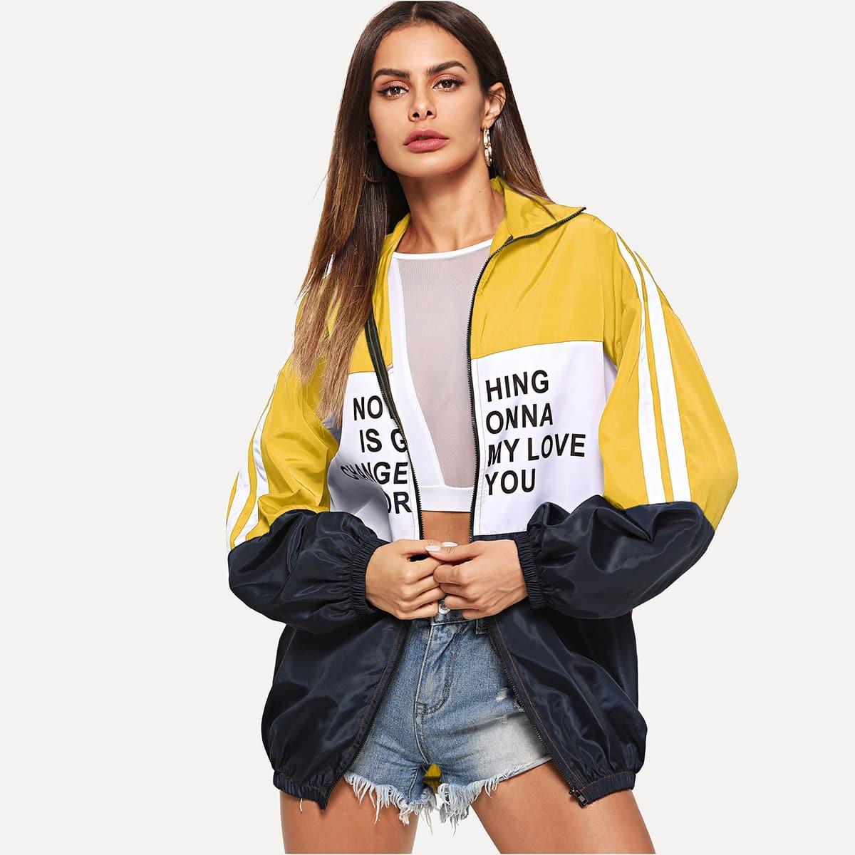 Kleurblok jas met letterprint en ritssluiting