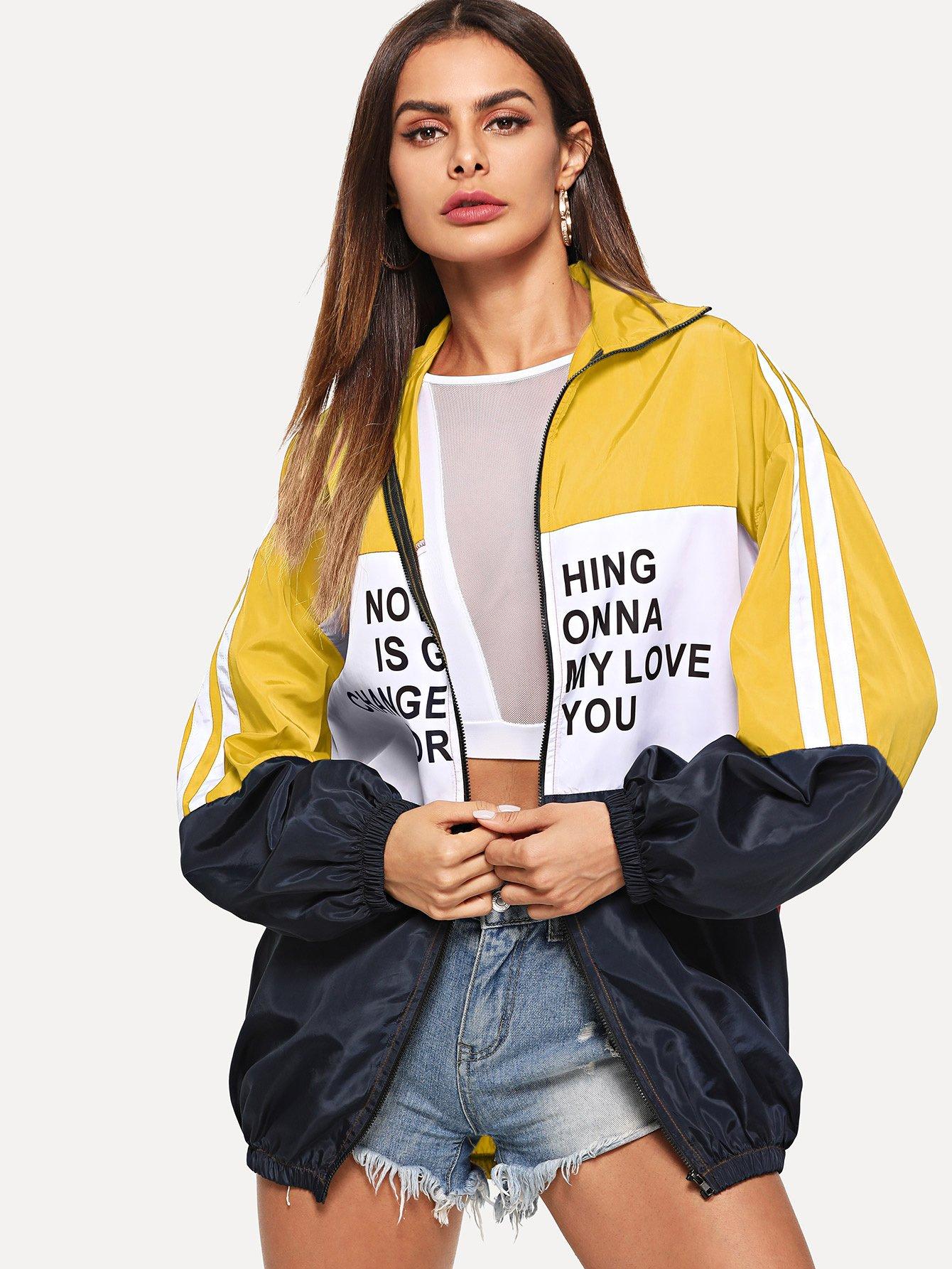 Купить Куртка на молнии с принтом букв, Andy, SheIn