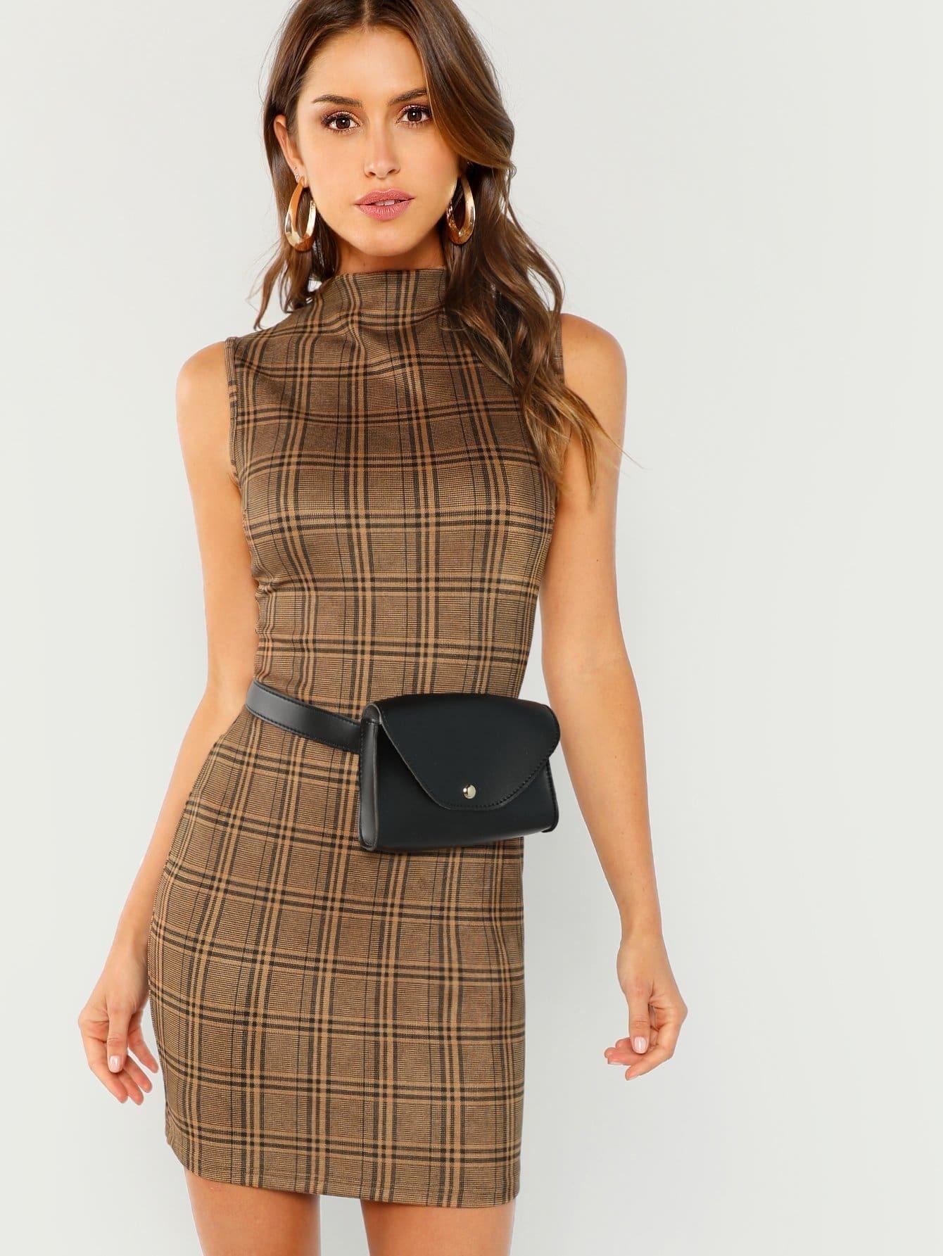 Купить Облегающое платье в клетку и с поддельным воротником, Gigi Paris, SheIn