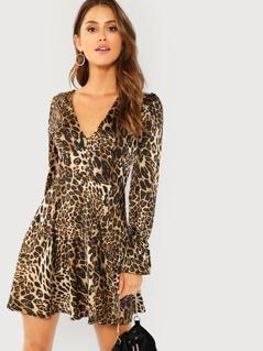 Leopard Print  Flounce Sleeve Fit & Flare Dress
