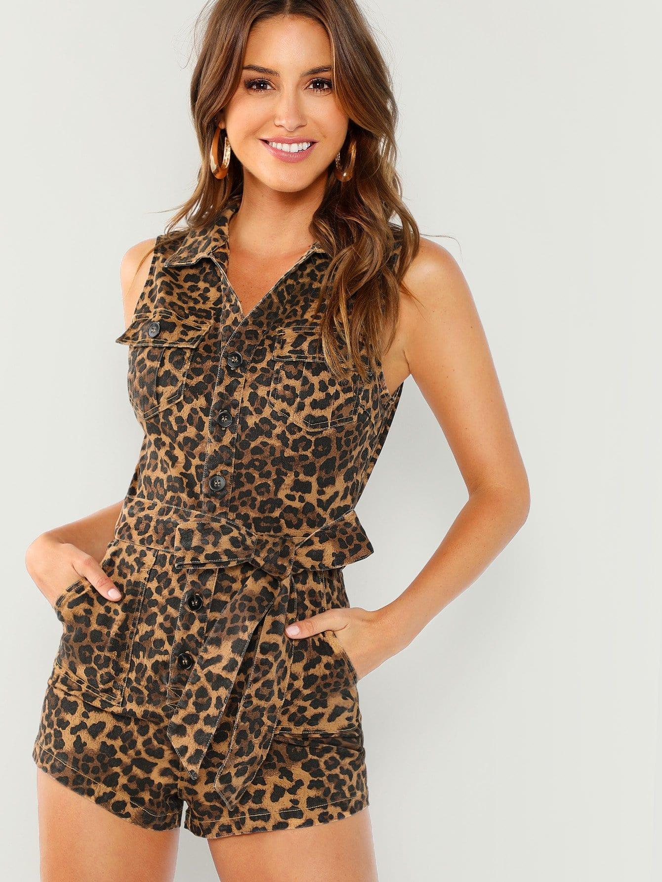 Купить Леопардовый комбинезон на пуговицах с поясом, Gigi Paris, SheIn
