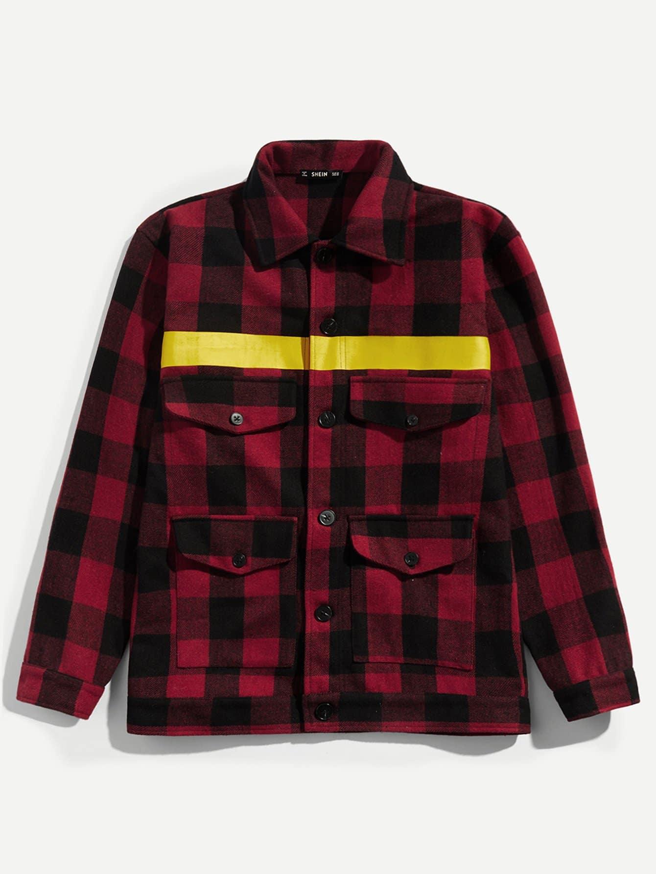 Купить Для мужчин пальто в клетку на пуговицах, null, SheIn