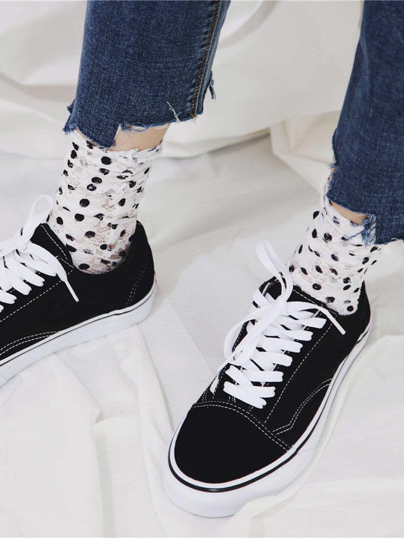 Socken mit Punkte und Spitzen 1Paar