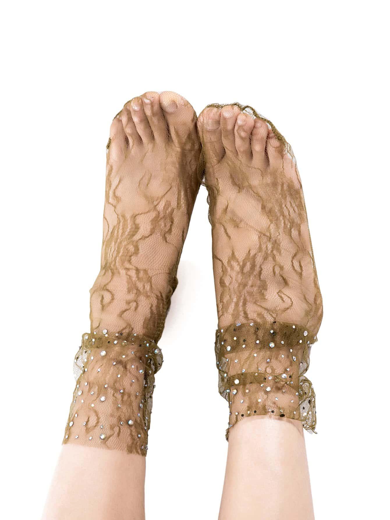 Socken mit Strass Dekor und Spitzen 1Paar