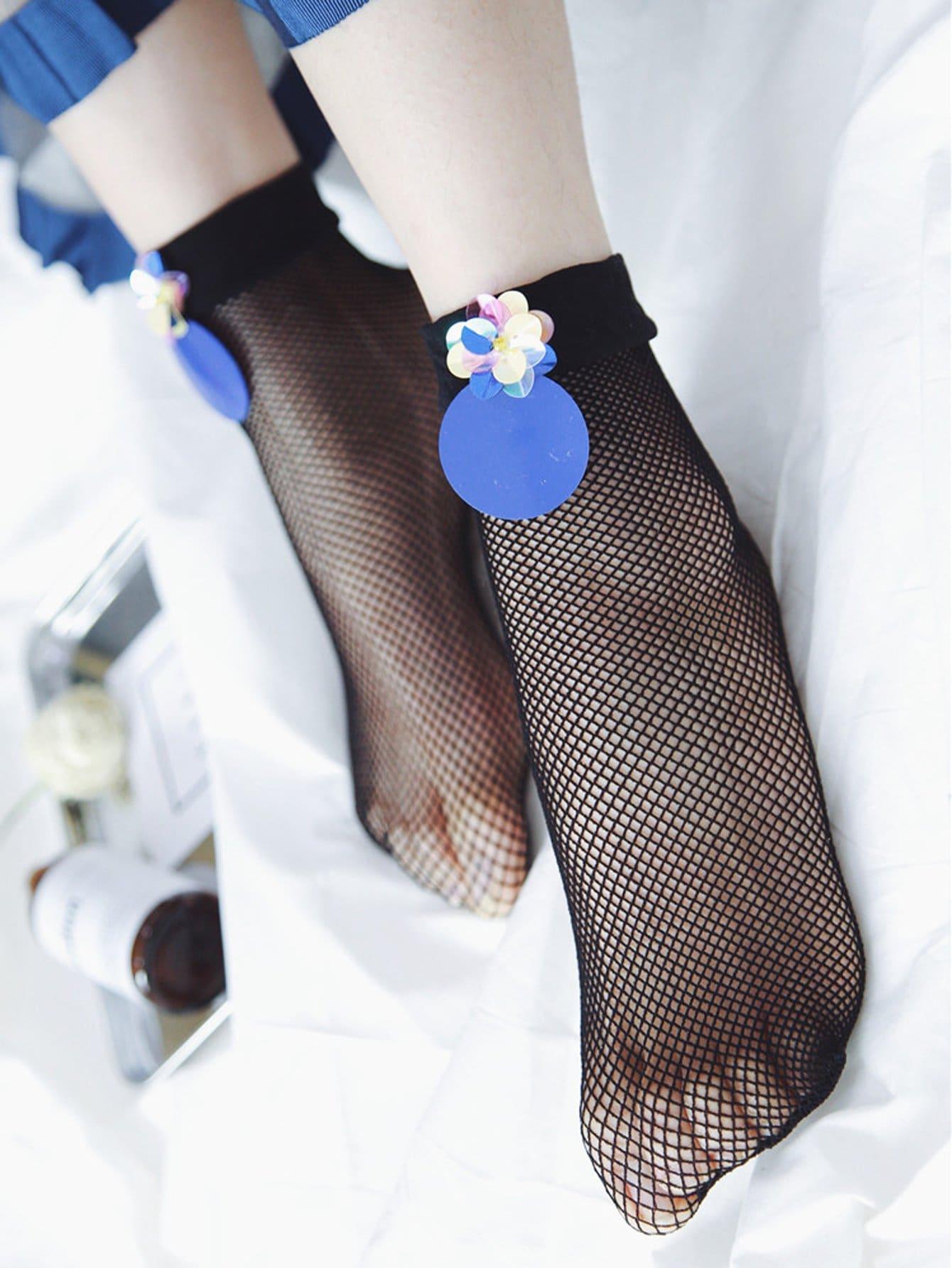 Netz Socken mit Pailletten Detail 1Paar