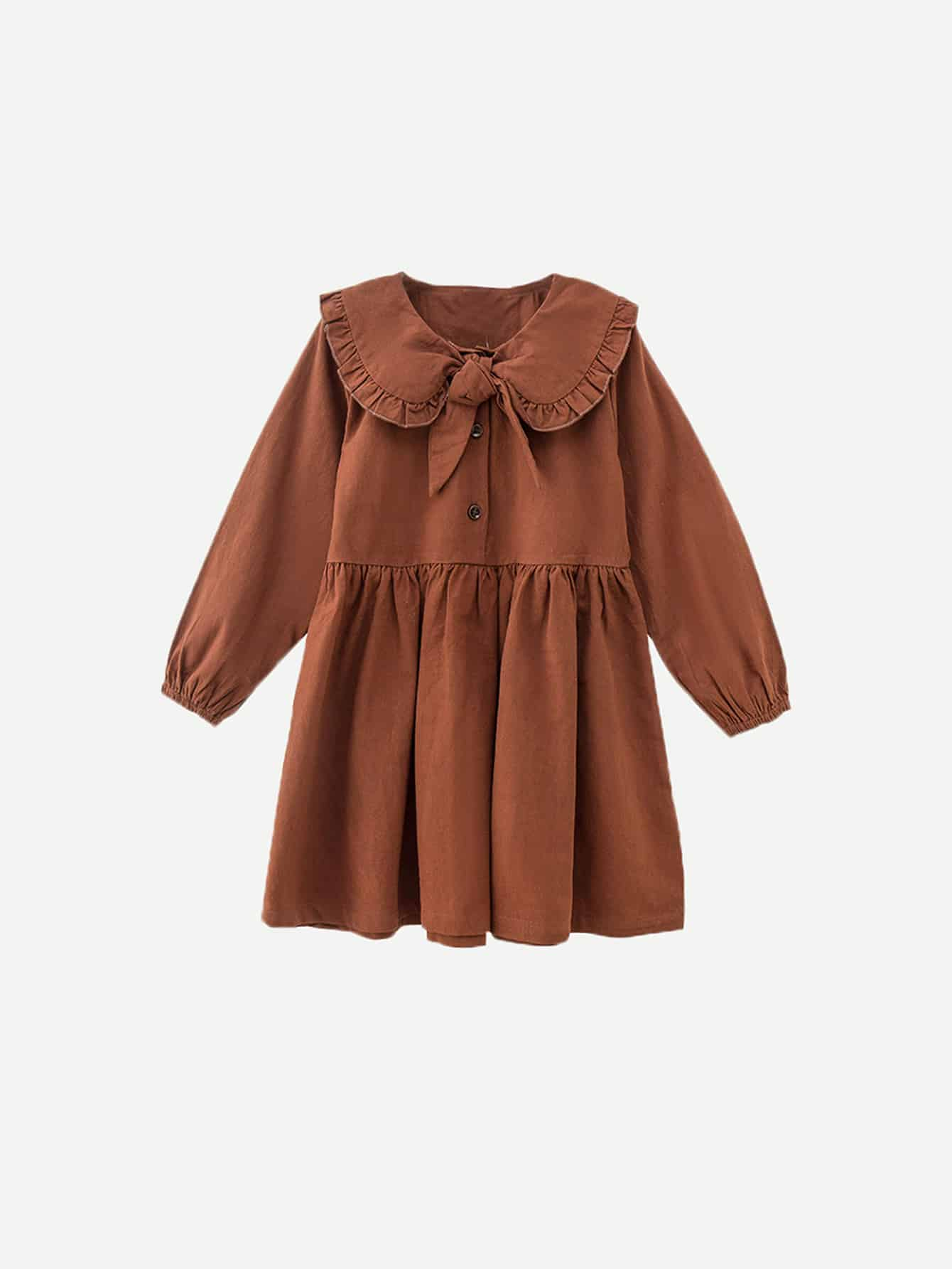 Girls Frill Trim Knot Front Solid Dress