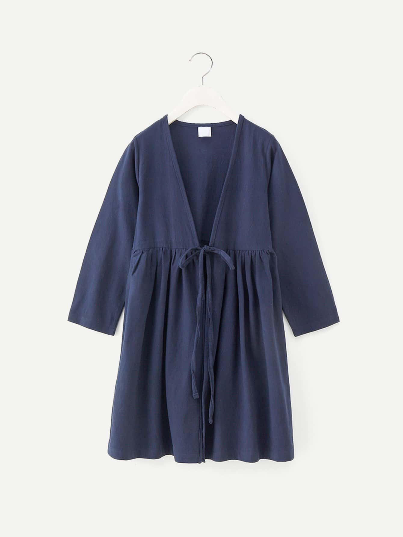 Girls Knot Front Solid Longline Outerwear