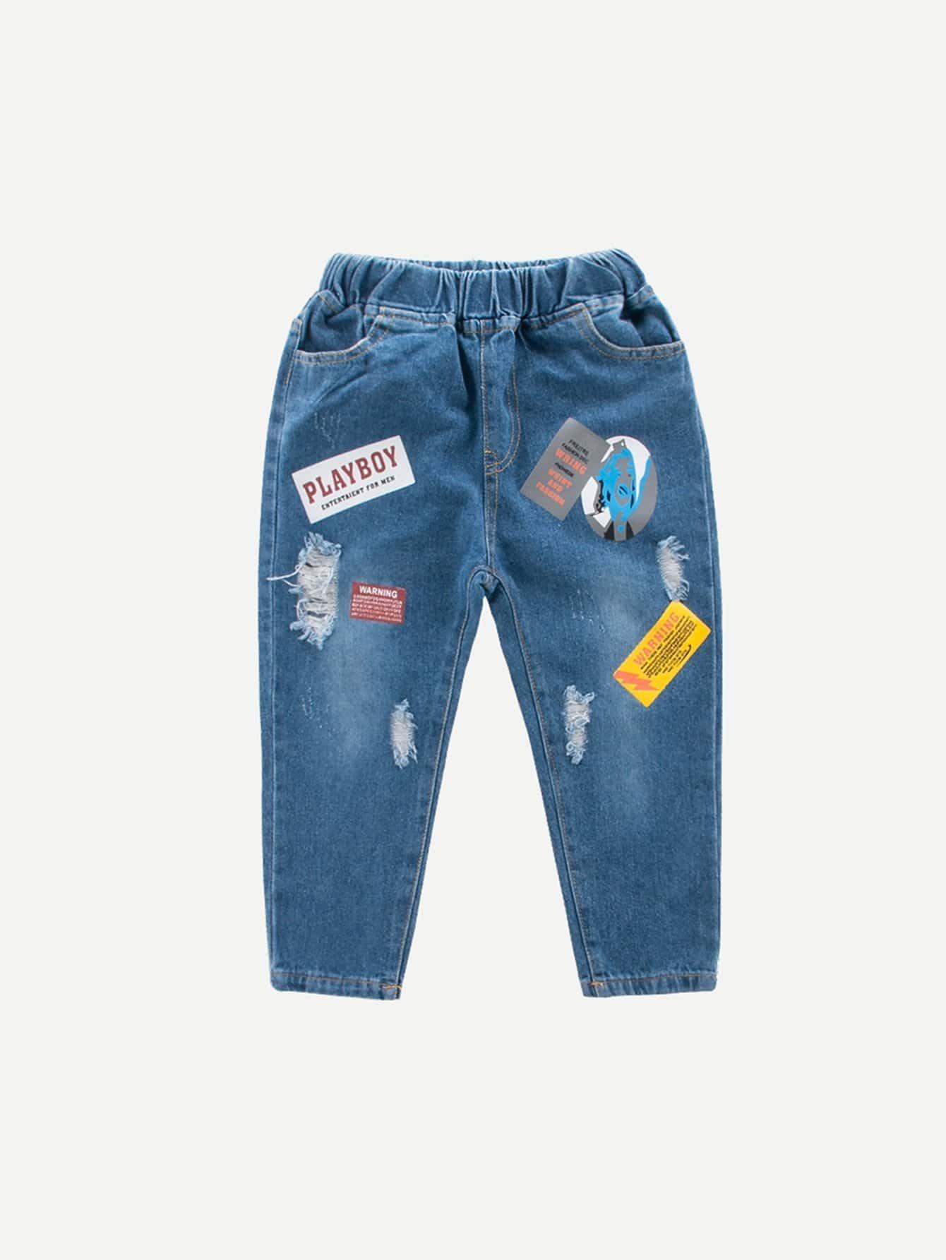 Les Filles Du Dessin Animé Et Lettre Imprimer Jeans Déchirés