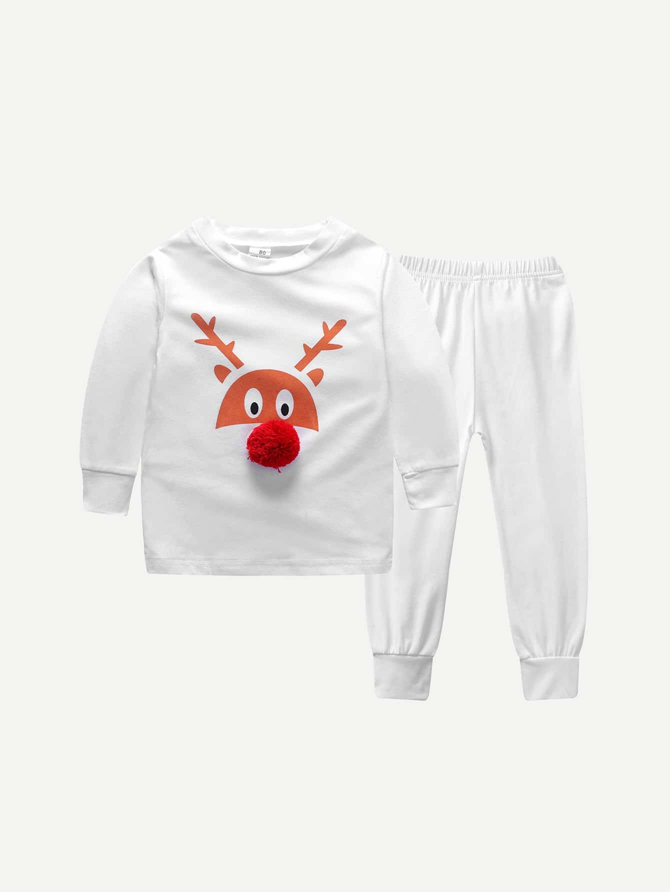 Boys Pom Detail Cartoon Print Top With Pants