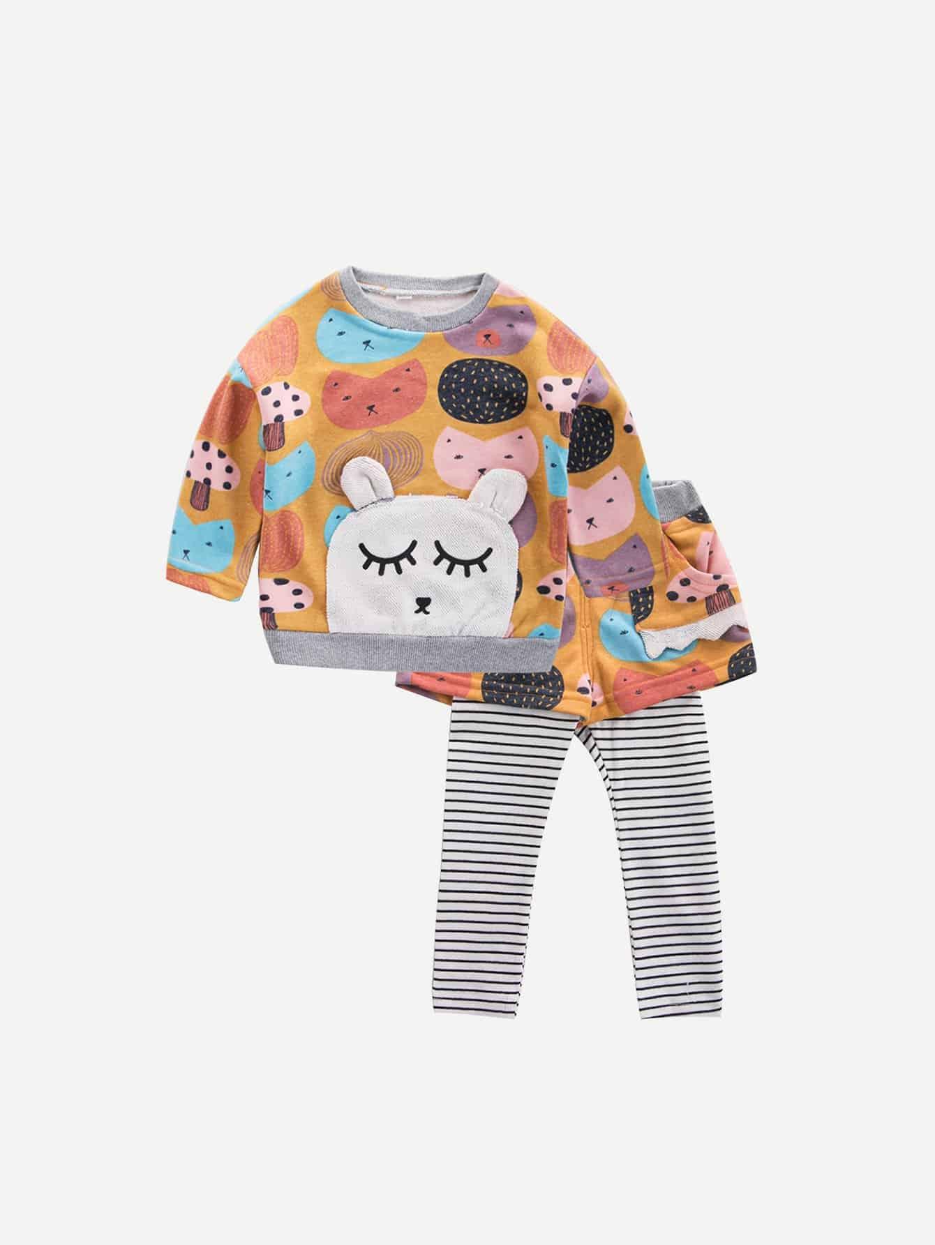 Купить Блуза с рисунком кота и полосатые брюки для девочки, null, SheIn