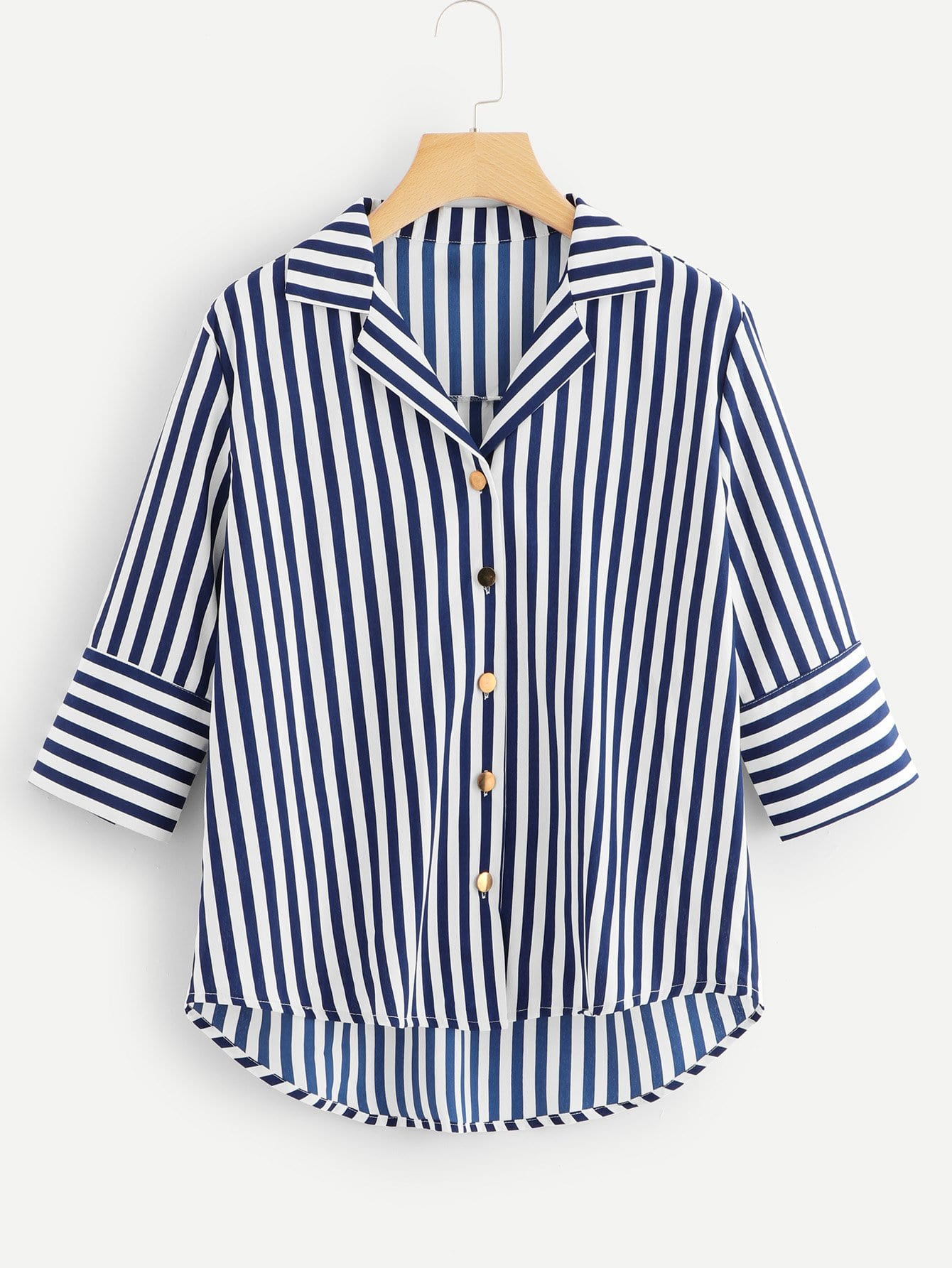 Striped Single Breasted Dip Hem Blouse