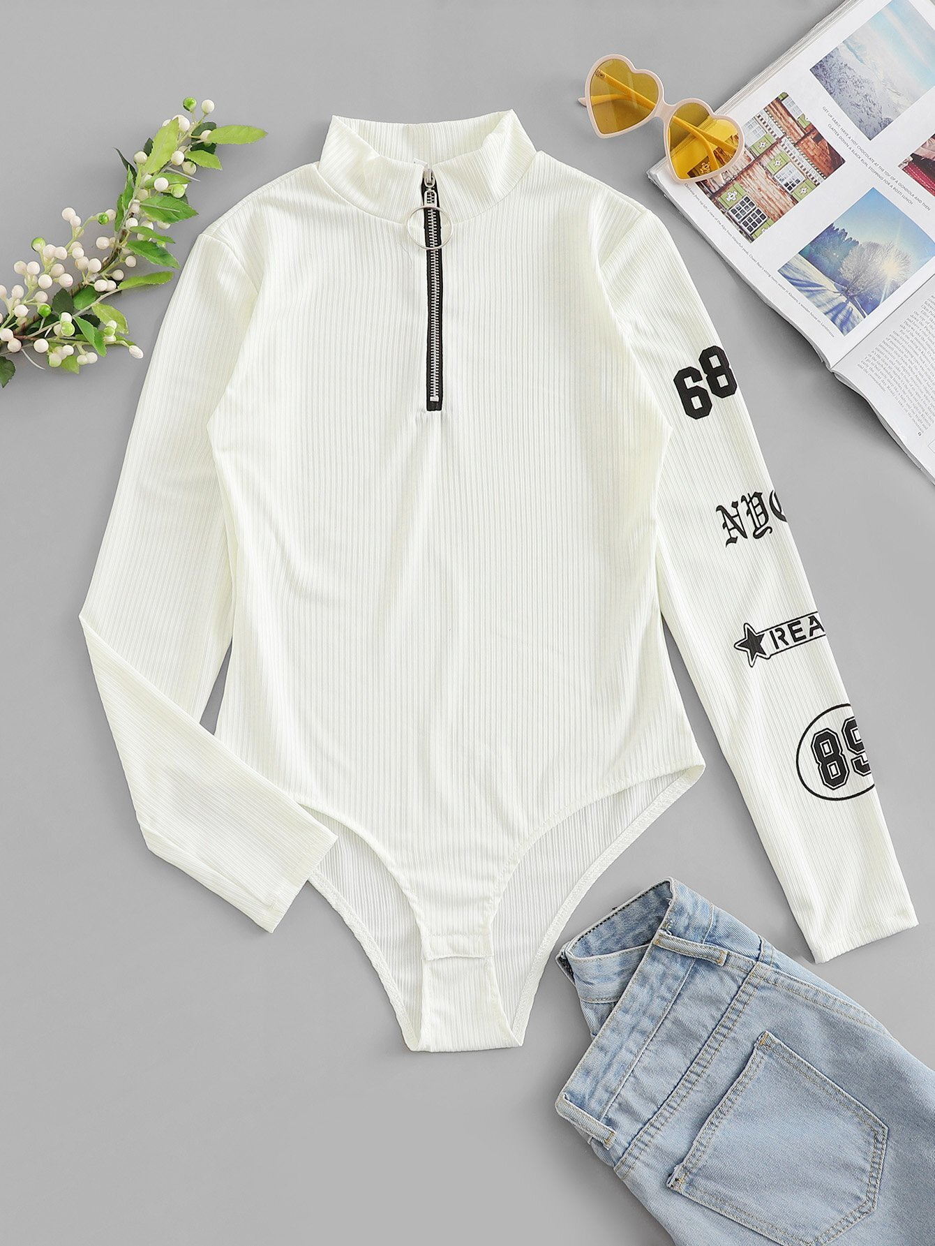 Letter Print Zip Up Bodysuit