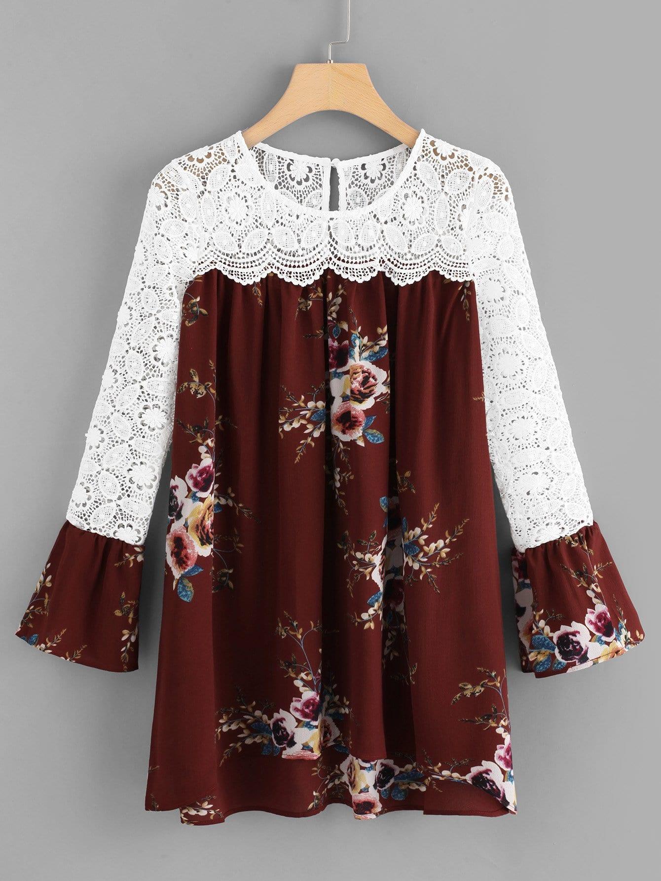 Floral Print Lace Panel Dress