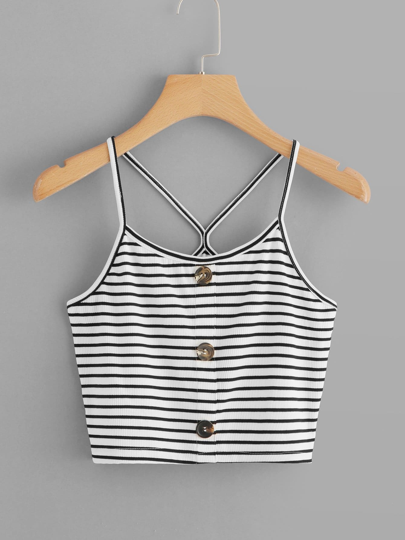 Striped Single Breasted Cami Top