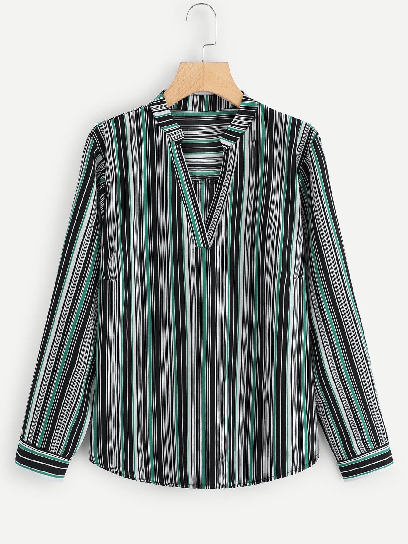 Купить Большая полосатая блуза с V-образным вырезом, null, SheIn