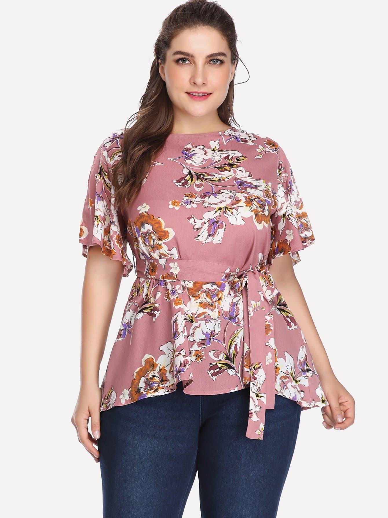 Купить Большая ситцевая блуза, Franziska, SheIn