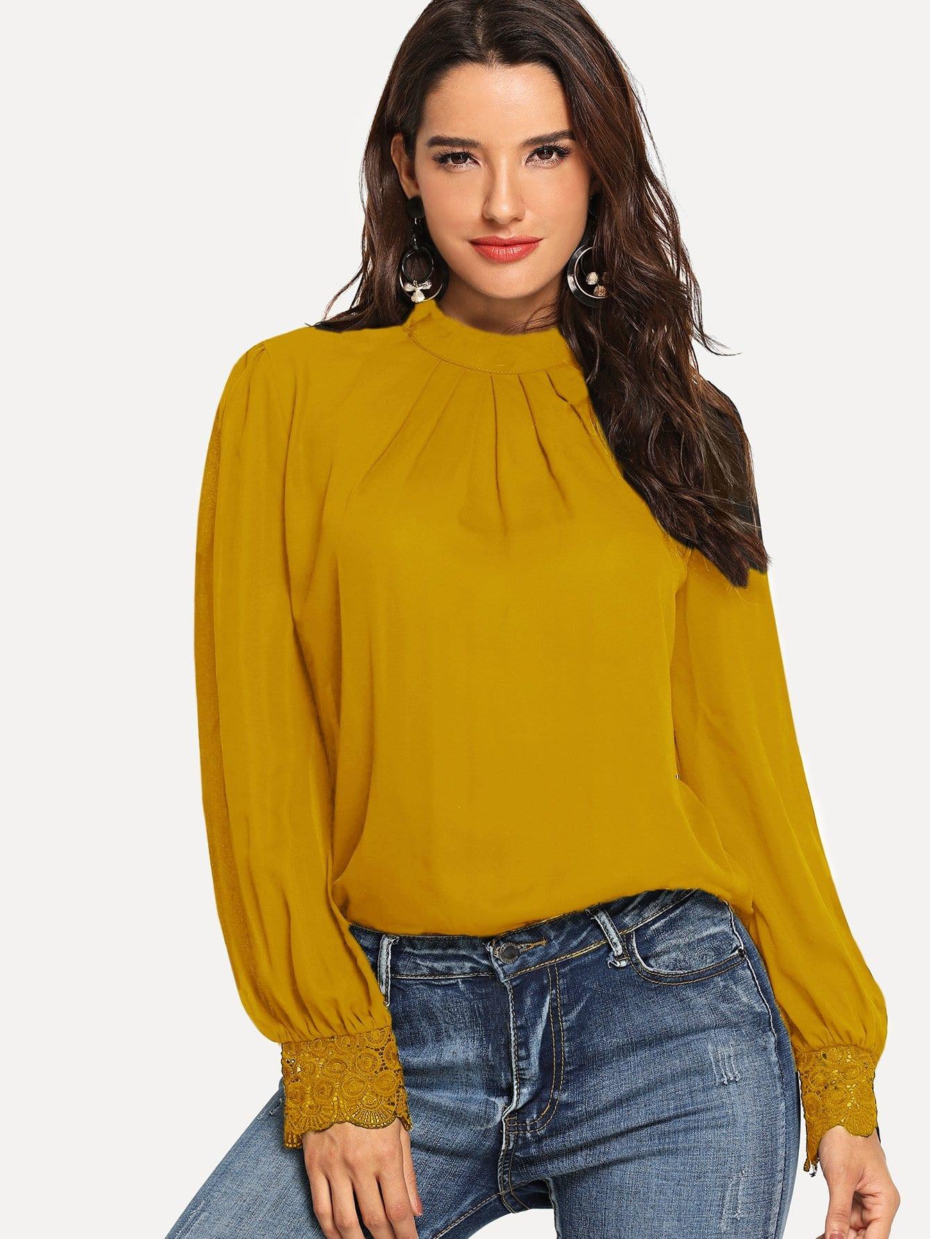 Купить Простая блуза со симметрическими кружевами, Juliana, SheIn