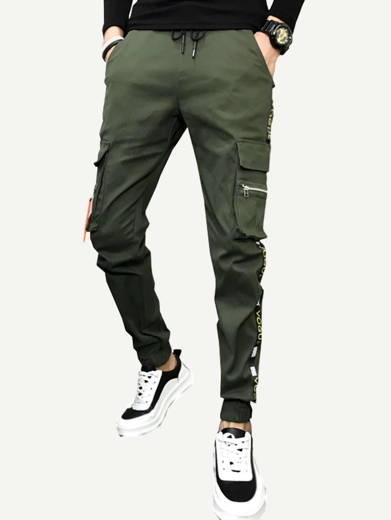Men Pocket Decoration Tape Detail Drawstring Pants