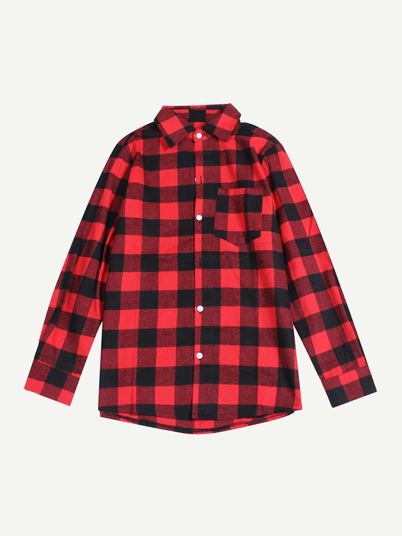 Men Check Plaid Shirt