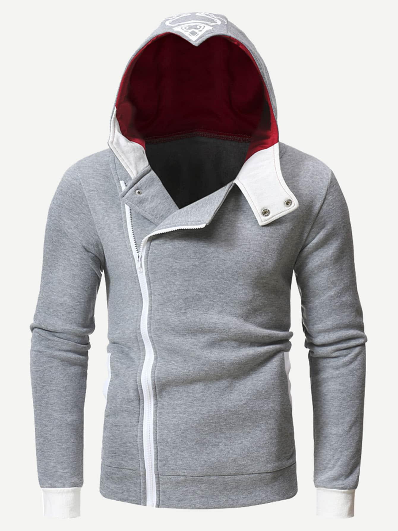 Men Abstract Print Back Zip Hooded Sweatshirt