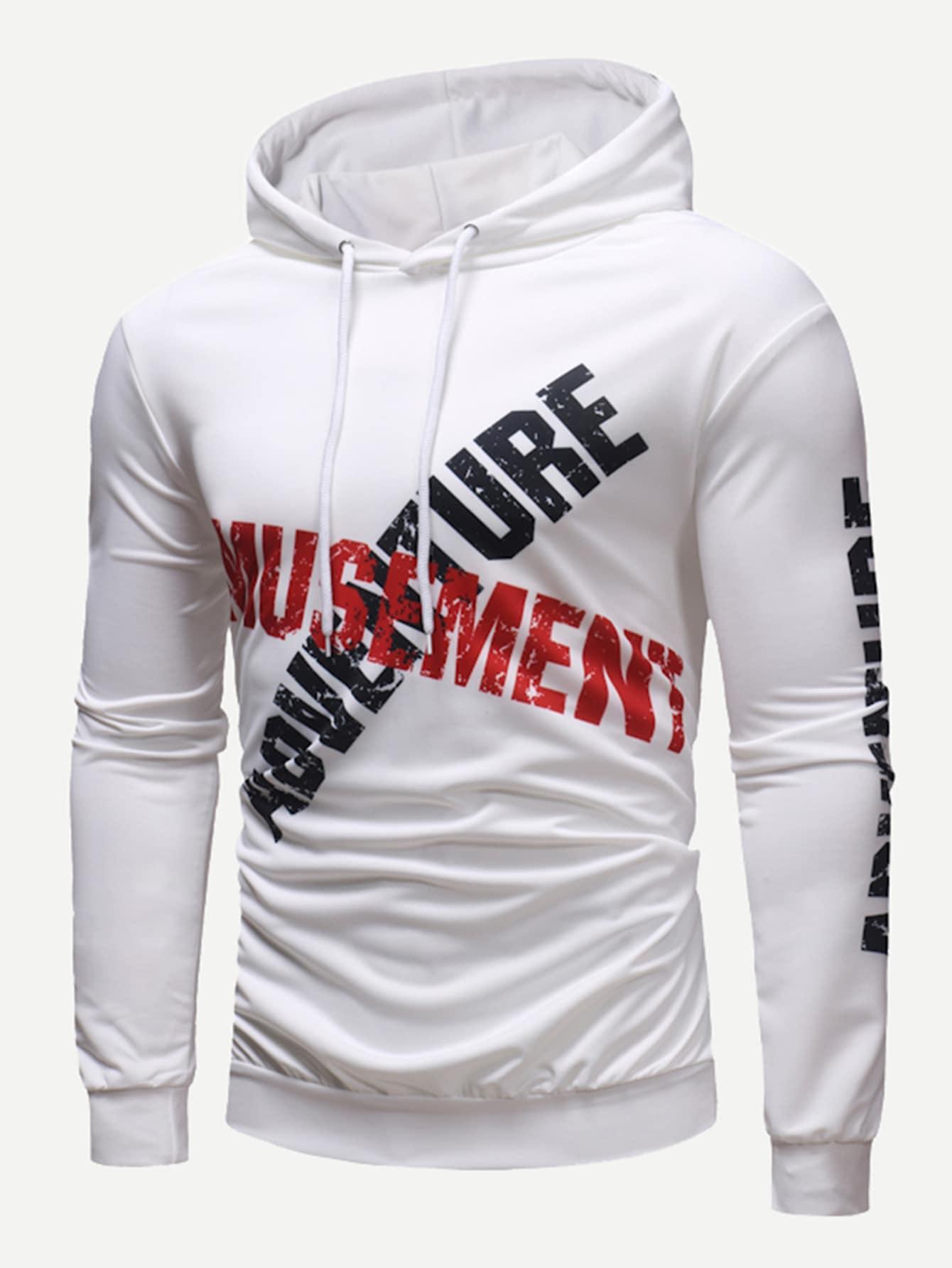 Men Letter Print Hooded Sweatshirt