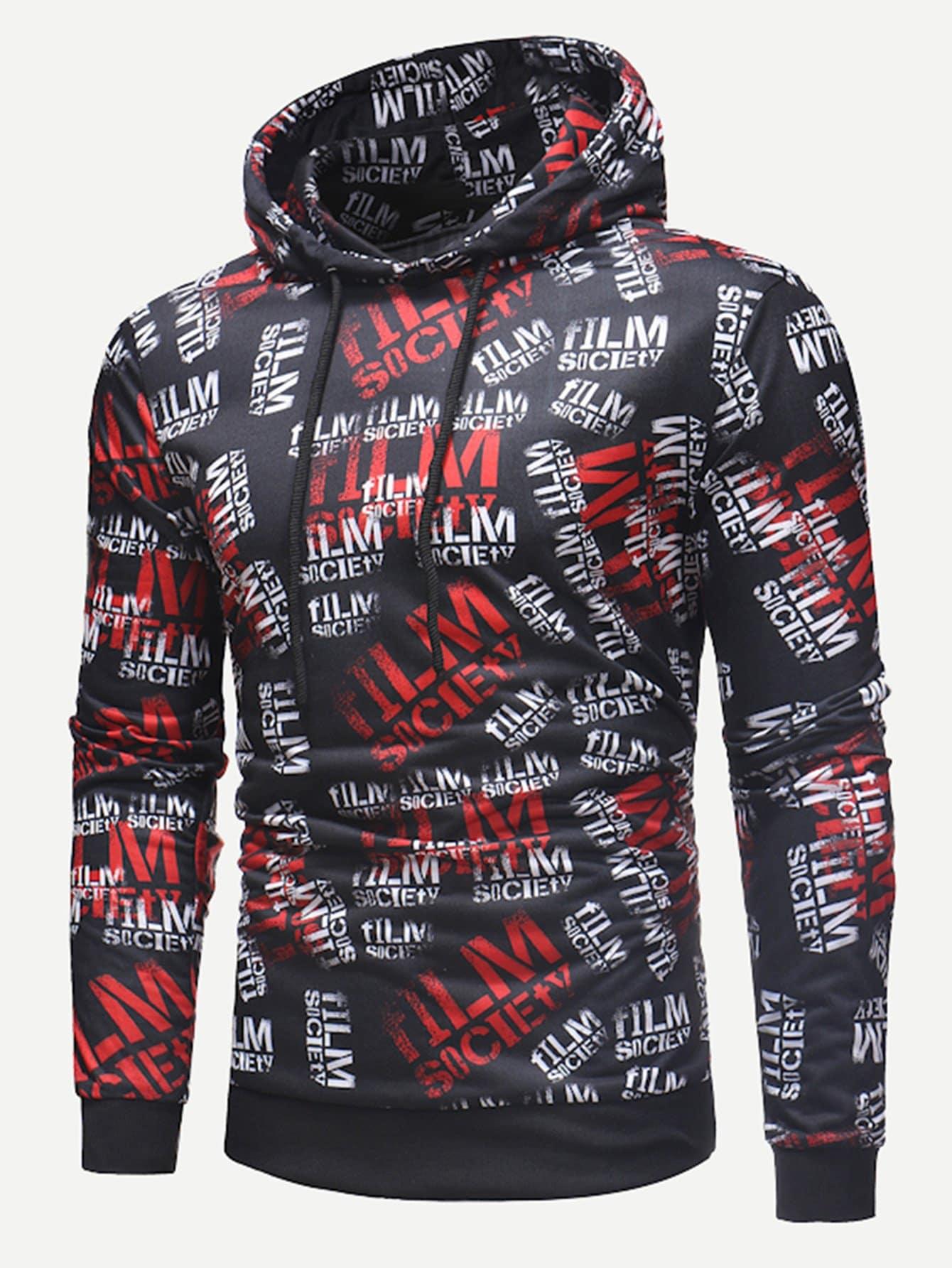 Men Allover Letter Print Hooded Sweatshirt