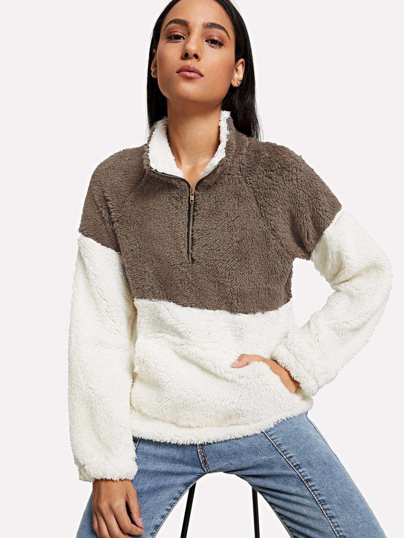 Sweatshirt mit sehr tief angesetzter Schulterpartie und Reißverschluss